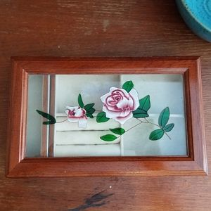 Wood & Glass Jewelry Box Organizer Rose